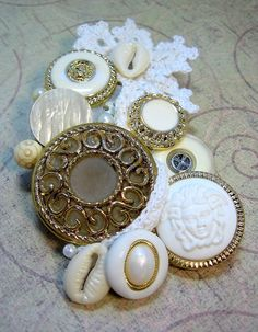 Pin, Scarf or Headpiece Accessory - Gold & Ivory -Under the Sea- Irish Lace and Vintage Button Collage