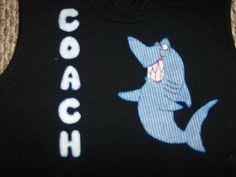 camiseta decorada con aplicaciones en tela aplique tiburon