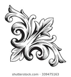 Similar Images, Stock Photos & Vectors of Vintage baroque frame scroll ornament engraving border floral retro pattern antique style foliage swirl decorative design element filigree calligraphy vector – 241973614 – Tattoo Pattern Design Baroque, Motif Baroque, Baroque Pattern, Filigranes Design, Design Elements, Swirl Design, Baroque Frame, Molduras Vintage, Filigree Tattoo