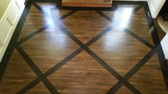 Custom hardwood floor installation in Snellville, GA. Ebonized wide plank white oak border and inlays on stained white oak floors. Installing Hardwood Floors, Refinishing Hardwood Floors, Floor Refinishing, Wood Floor Kitchen, Kitchen Flooring, Wood Floor Design, White Oak Floors, Wide Plank Flooring, Rustic