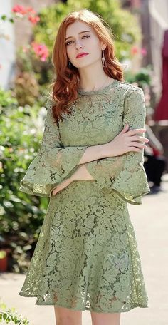 Lace dress with sleeves - Round Collar Hollowed Trumpet Sleeve Lace Dress 69066 Stylish Dress Designs, Stylish Dresses, Simple Dresses, Pretty Dresses, Casual Dresses, Short Dresses, Fashion Dresses, Short Lace Dress, Dress Long