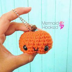 Kawaii Crochet Pumpkin Keychain by Mermaid Hooked ♡ Kawaii Crochet, Crochet Pumpkin, Mermaid, Crochet Hats, Etsy Shop, Knitting, Cute, Fabric, Handmade