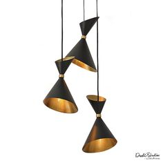 This hanging Pendant features three brass cones with black exteriors. Inspired by the clean lines and sophistication of mid-century design, this pendant is adds a chic design element to any room. Clus