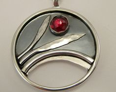 Sterling Silver Garnet Necklace Norse Pendant by LauraRoberson