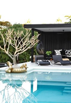 Featuring the best of both design and location, this modernist-style home with a monochrome palette is a luxe haven for a Noosa family. Backyard Pool Landscaping, Backyard Pool Designs, Swimming Pools Backyard, Swimming Pool Designs, Garden Pool, Modern Pool House, Modern Pools, Gazebo, Pergola