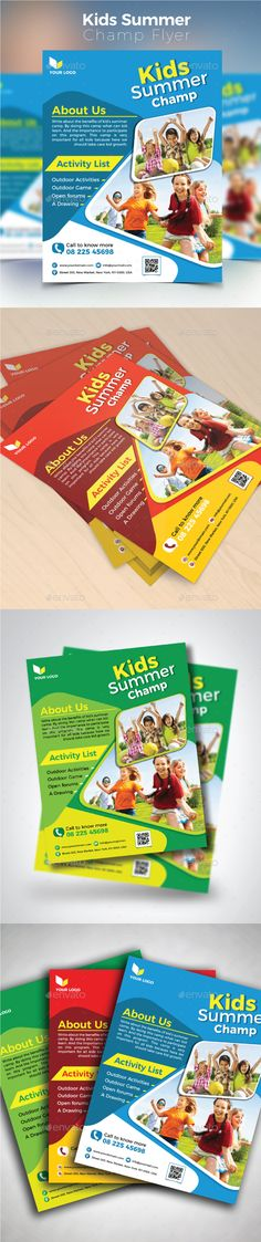 "Kids Summer Champ Flyer by design_station SPECIFICATIONS:Size: 8.5""x11�20Bleed: .125�20Three color variationsFully editable Illustrator AI & EPS file Color mode: CMYK Files I"