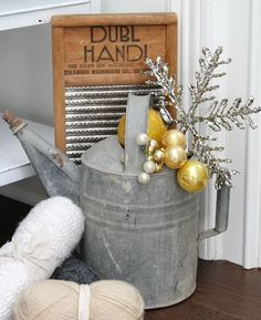 bHome for the Holidays and enter to win a $250 gift card.  Visit my kitchen all decked out in vintage Shiny Brites, ironstone, burlap & bling for the holidays.  While there enter to win a $250 gift card to Farmhouse Refined - a lovely shop filled with treasures for your home.