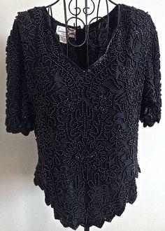 Laurence Kazar Beaded Sparkle Top Blouse 100% Silk Black Lined Size Petite XL #LaurenceKazar #Top