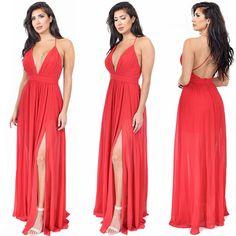 Aurora Red Side Slit Maxi Dress Shop: emprada.com