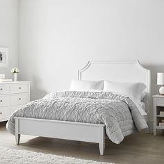 With its classic silhouette and elegant curves, this beautiful bed is a spin on our favorite Auburn Bed minus the storage headboard. This bed is crafted from sturdy poplar and birch for durability, and finished with a five-step, water-based finish … Home Decor Bedroom, Bed Linen Design, Bedroom Decor, Furniture, Bed, Home, Headboard Storage, Beautiful Bedding, Home Decor