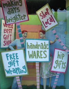 """Picket"" signs full of reasons to shop here!"