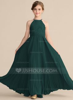 A-Line Scoop Neck Floor-Length Chiffon Lace Junior Bridesmaid Dress With Pleated - JJ's House Stylish Dresses For Girls, Frocks For Girls, Dresses Kids Girl, Frock Fashion, Fashion Dresses, Farewell Dresses, Kids Dress Wear, New Designer Dresses, Baby Dress Design