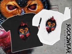 Rockin onesies / babysuit / t-shirt white or black with galactic owl