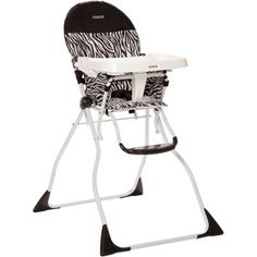 Cosco Flat Fold High Chair - Folds up nice and compact for extra space. We love this. My only problem with it is that the back is reclined and can't be adjusted, but you can't beat the price.