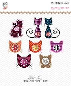 Cat Monogram Frames SVG DXF PNG eps pattern decal animal pet nature Cut File for Cricut Design, Silhouette studio, Sure A Lot, Makes the Cut by SvgCutArt on Etsy