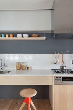 LIke Wood, White, Tile Backsplash (though Maybe Impractical), And Gray  Color Kitchen Shot Of Fujigaoka M Apartment Designed By Sinato.