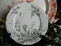 Aesthetic Movement Adds | Antique English Aesthetic Movement Dark Loden Green Transferware Plate ...