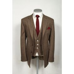 Vintage brown tweed wedding suit hire.