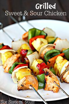 Grilled Sweet and Sour Chicken Kabobs on SixSistersStuff.com - a delicious and healthy take on Chinese food!