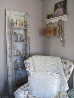 Rustique... The Rehab Boutique: From the Dump to my Living Room  Love the Ladder and door idea!!!!