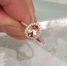 Champagne Peach Sapphire 14k Rose Gold Diamond Halo Engagement Ring Weddings Anniversary September Birthstone Gemstone on Etsy, $1,360.00
