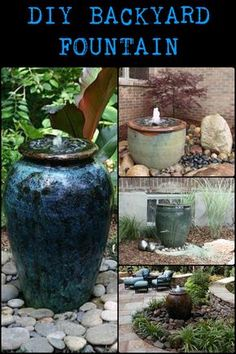 DIY Backyard Fountain This Simple Water Feature Gives a Great Effect Without a Lot of Physical Labor Diy Water Fountain, Garden Water Fountains, Outdoor Water Fountains, Patio Fountain, Solar Fountains, Wall Fountains, Fountain Ideas, Diy Water Feature, Backyard Water Feature