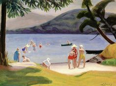 ArtCentric John Lyman - Bathing Beach, Lake Ouimet Matisse, Group Of Seven, Canadian Art, West Indies, Swimmers, North Africa, Geography, Modern Art, Bathing
