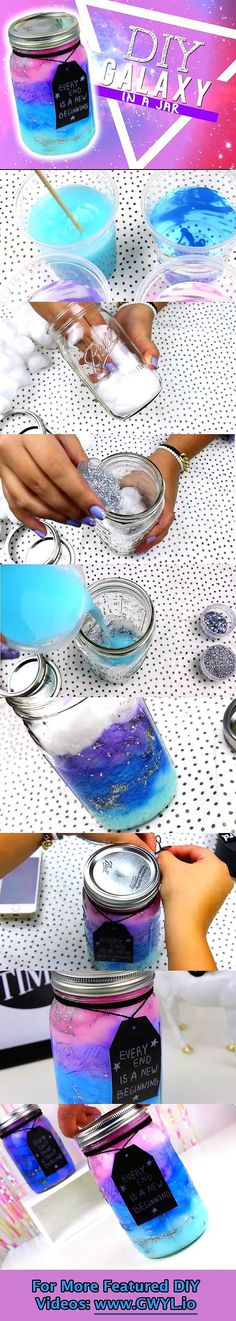 DIY Galaxy in a jar diy craft crafts diy crafts do it yourself diy projects diy and crafts Cute Crafts, Crafts To Do, Crafts For Kids, Arts And Crafts, Kids Diy, Craft Kids, Diy Galaxie, Art Diy, Ideias Diy