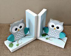 Owl Bookends - Wooden Bookends - Owl Nursery Decor - Kids Room Decor - Animal…