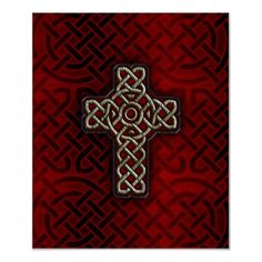 The celtic cross symbol is derived from the latin crucifix or cross. Legend has it that St Patrick drew a latin cross on circular celtic stones that the druids used for worship in an attempt to draw the druids to Christianity. The interlaced knotwork remains on modern versions to retain the celtic art spirit and tradition.