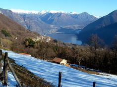 View of Porlezza from the mountain above, in the winter. Magic!
