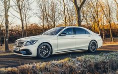 Download wallpapers Mercedes-Benz S63 AMG, 2017, luxury white sedan, white cars, white S63, German cars, Mercedes, 4k