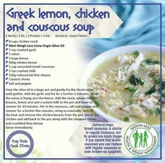 Healthy Eating Recipes, Healthy Meals, Healthy Food, Chicken Couscous, Low Sugar Diet, My Recipes, Recipies, Soups And Stews