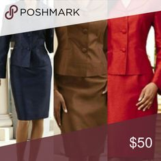 """EY Dress Suits These suits are designed by EY.  They are fully lined, both jacket and short.  The jacket has front pockets, located in the front left and right of jacket.  Skirt is straight with a length of approximately 27"""".  The material is made of 100 % polyester.  Comes in 3 colors: Navy, Red, and Chocolate. Sizes 10-18. Comment me befoemre ordering Skirts"""