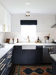 modern navy & white kitchen