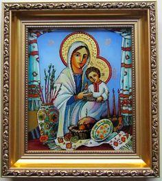 Easter Virgin Mary Jesus Icon Reverse Painting on Glass Ukrainian Eggs Khacko | eBay