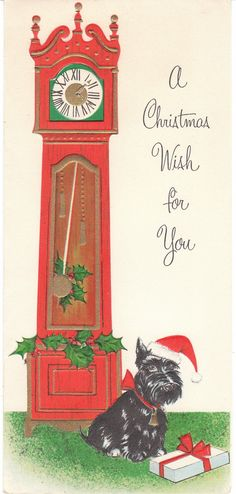 Adventures on eBay: Vintage Christmas Card of the Day - Scottie Dog and Grandfather Clock