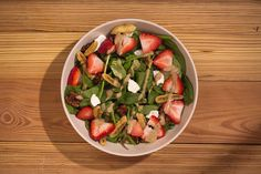 good Strawberry Goat Cheese seasonal salad - back on the menu on June Goat Cheese, Caprese Salad, Kids Meals, Smoothies, Salads, Strawberry, June, Food, Smoothie
