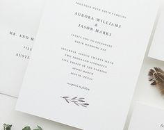 PAPER SAMPLES Aspen Simple Wedding by augustandwhitedesign on Etsy