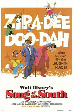 Song of the South Ruth Warrick, Bobby Driscoll, James Basket (Br'er Fox voice) and Uncle Remus live action character, Nick Stewart (Br'er Bear voice), Johnny Lee (Br'er Rabbit voice) Walt Disney Movies, Disney Movie Posters, Film Disney, Classic Movie Posters, Disney Songs, Pixar Movies, Cartoon Movies, Classic Movies, Disney Characters