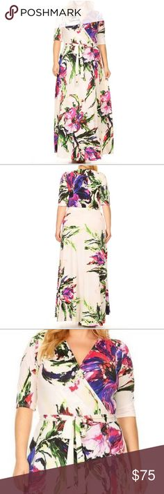 Wrap a-line Floral Print Dress Get a gorgeous look in this plus size wrapped a-line maxi dress. A city chic style.    Sizes: 1X. 2X. 3X.  Multi-Color Floral print.   I ship within 3-5 business day Comment if you have any questions.  Thank you. Happy Poshing!🌼      🎉08/08/2017 HP 🎉 Dresses Maxi