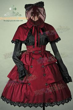 Gothic Lolita Steampunk: Round Lapel Cotton Embroidery Cape*3color Instant Shipping