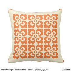 Retro Orange Floral Pattern Throw Pillows