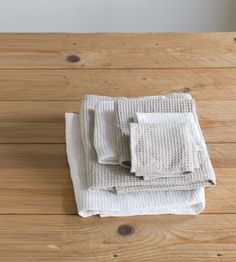 Fog Linen Bathroom Towel   Waffle   Natural and White   Various Sizes