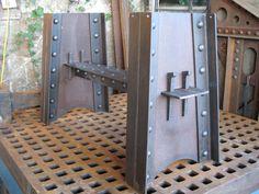 Riveted Bridge table base, Ballard Forge