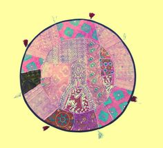 Indian Pink Purple Patchwork Handmade Oversized Round Floor Custion Boho Traditional Art by PrintBlockStamps on Etsy