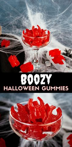 Boozy Gummy Spiders. Recipe for vodka gummy candy that looks like spiders. A fun adult Halloween treat that is easy to make and requires only 3 ingredients.These are similar to vodka gummy bears but require no soaking. #ElleTalk #Cocktails #halloween #vodka #candy