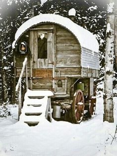 Gypsy wagon in snow - by Shelley Lee on Pinterest