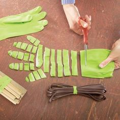 Rubber Bands from Rubber Gloves l Surprisingly useful to bind together power cords and dowels & as glue clamps for repair and assembly jobs
