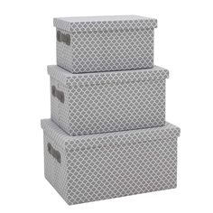 Fabric box in grey color. Set of 3 pieces. A practical and useful item that can be used for decoration or storage purposes Fabric Boxes, Basket Decoration, 3 Piece, Decorative Boxes, Storage, Color, Baskets, Decorations, Home Decor